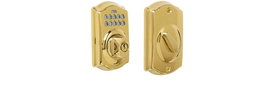 eRL-BE365CG Deadbolt Lock in Bright Brass Finish